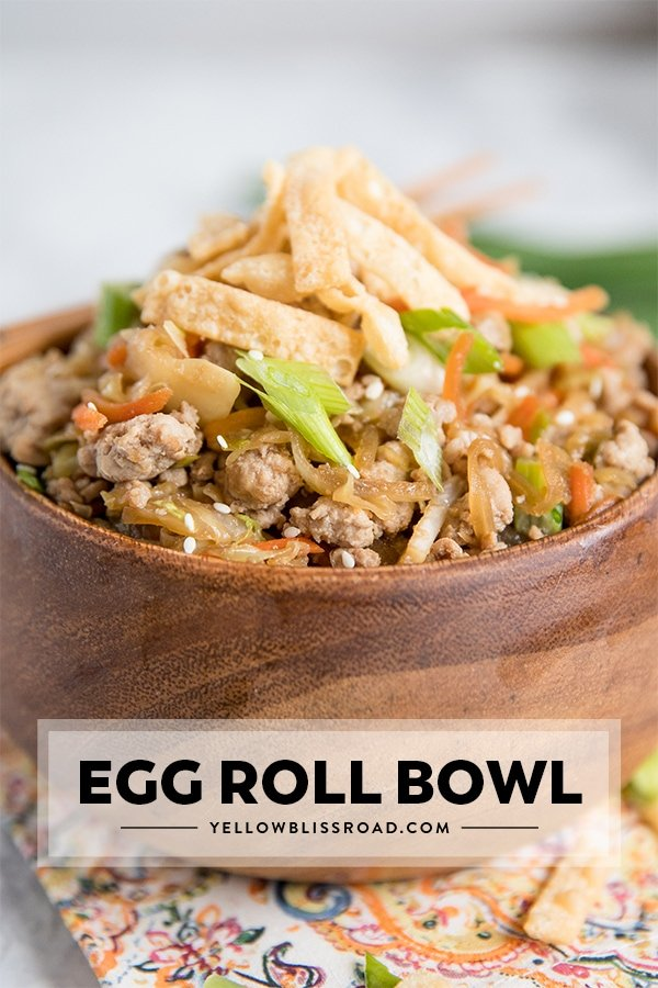This Egg Roll in a Bowl recipe ( Crack Slaw) with title text.