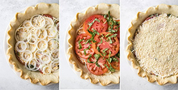 A collage with three photos depicting the steps for making a Tomato Pie.
