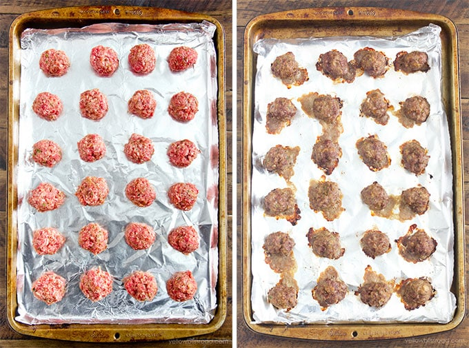 Two baking sheets side by side; one has raw meatballs and the other baked.