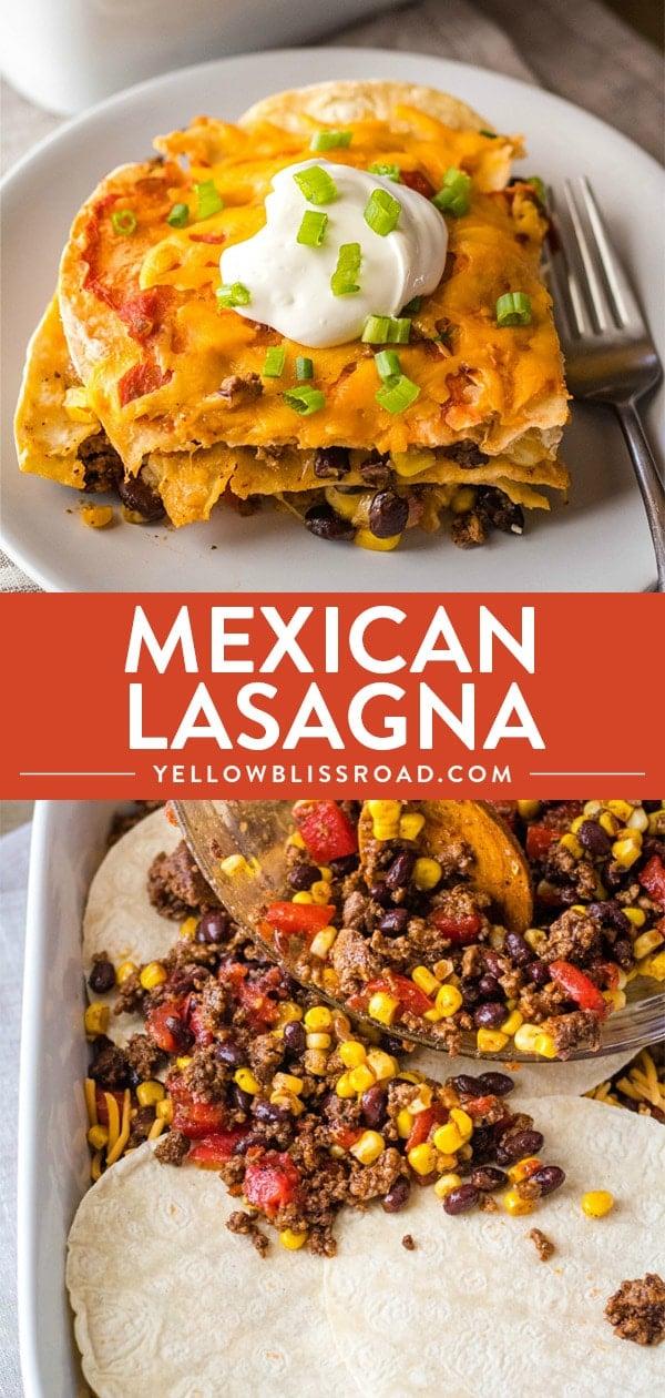 Mexican Lasagna photos collage.