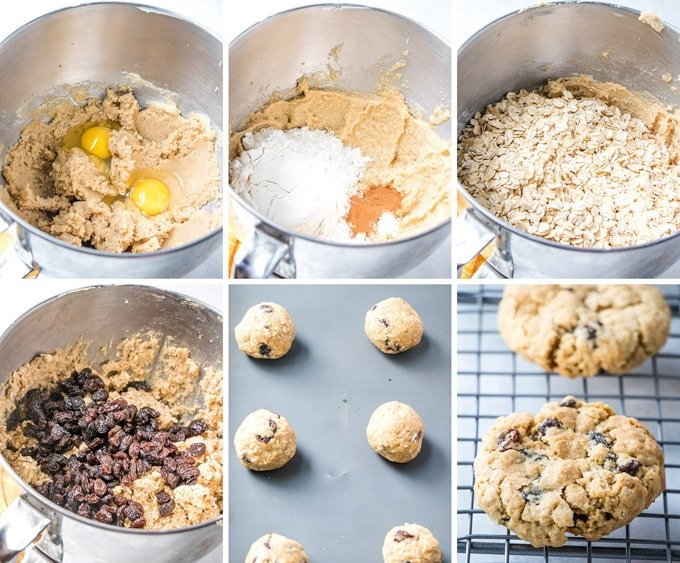 A collage of photos depicting how to make oatmeal cookies.