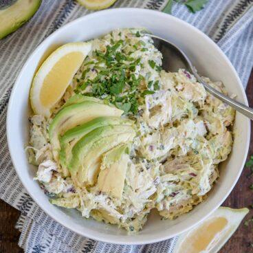 A bowl of Avocado Chicken Salad