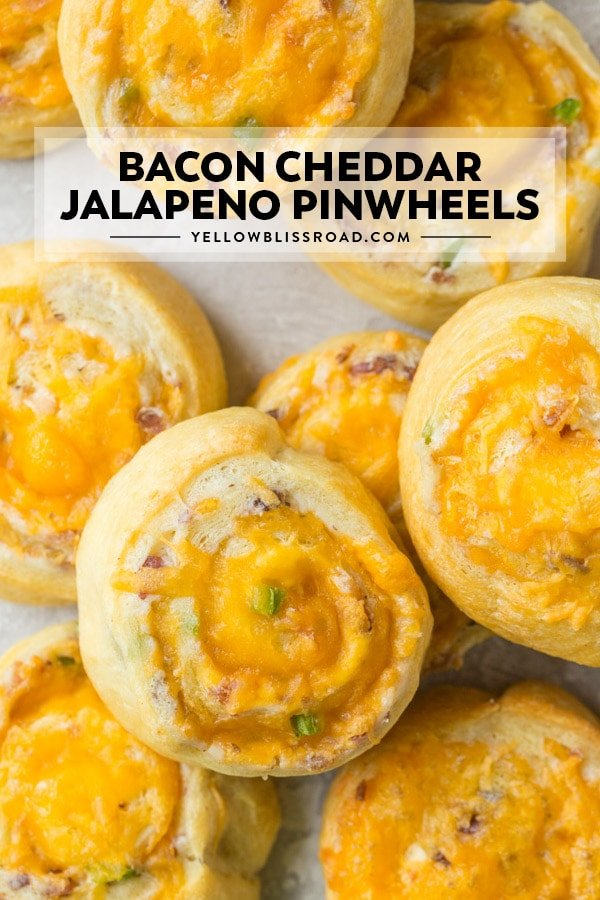 Bacon Cheddar Jalapeno Popper Pinwheels photo with title text