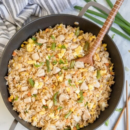 A pan filled with Chicken Fried Rice