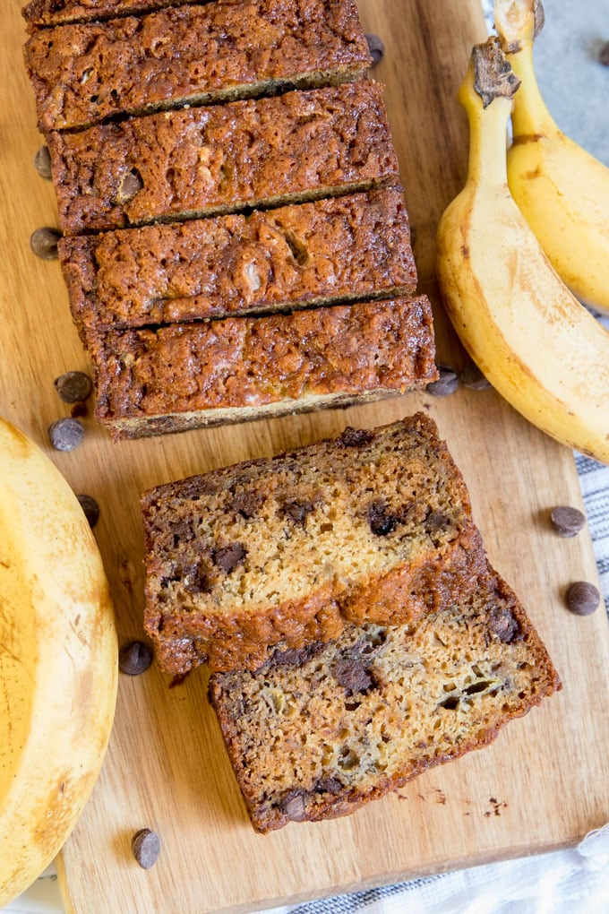 Banana bread with chocolate chips, sliced and shot from overhead.