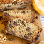 A piece of chocolate chip banana bread