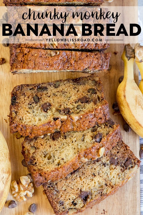 Chunky Monkey Banana Bread recipe photo and title.