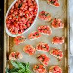 A tray of Bruschetta