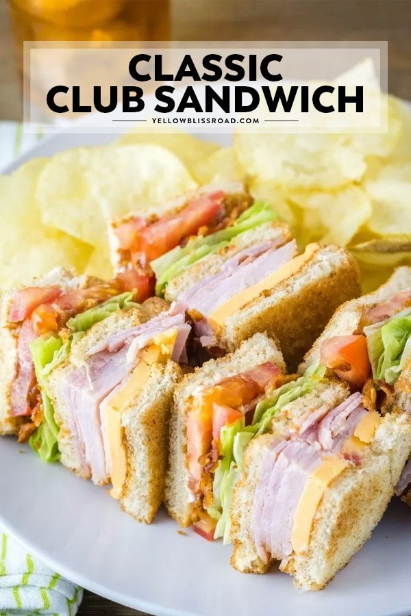 Classic club sandwich pinnable image with text