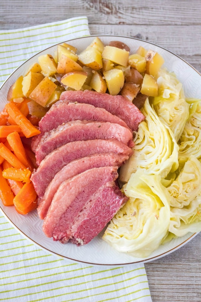 corned beef and cabbage recipe on a serving platter