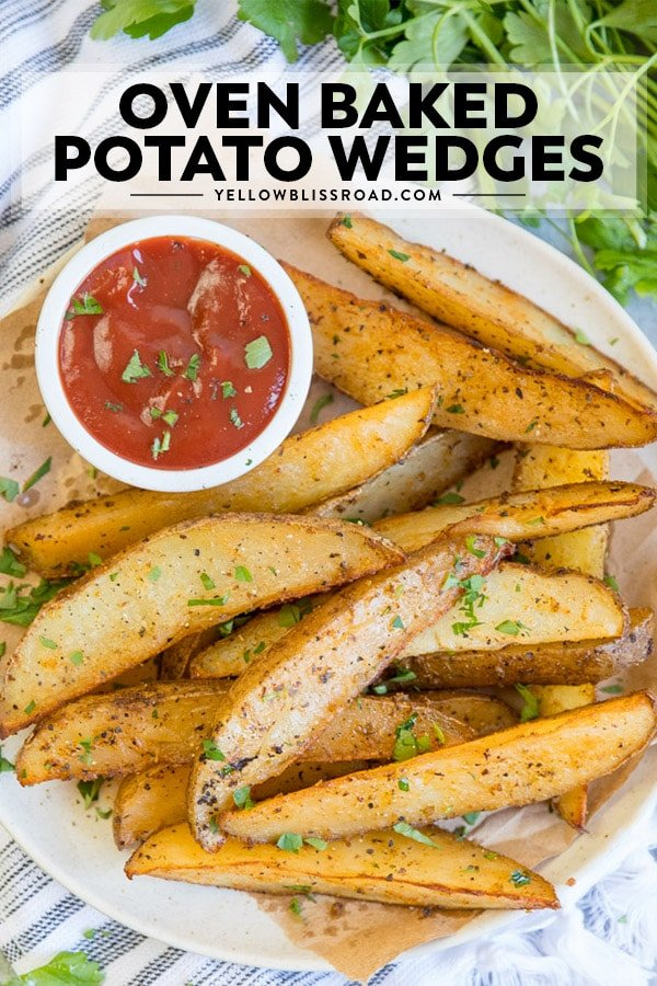 Easy Baked Potato Wedges on a plate with title text