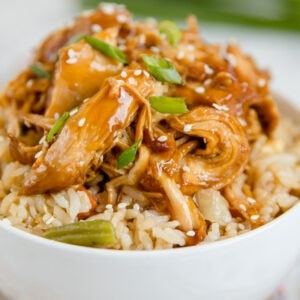 A dish is filled with Chicken Teriyaki