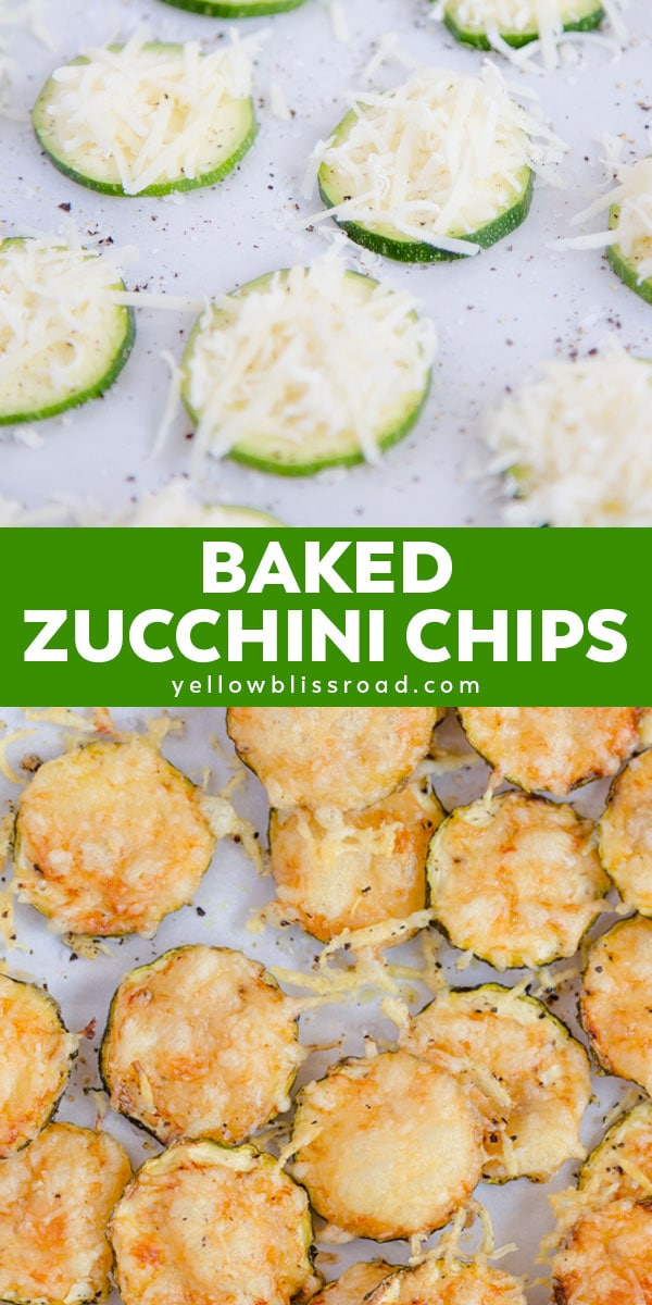 Baked Zucchini Chips collage of 2 images with text