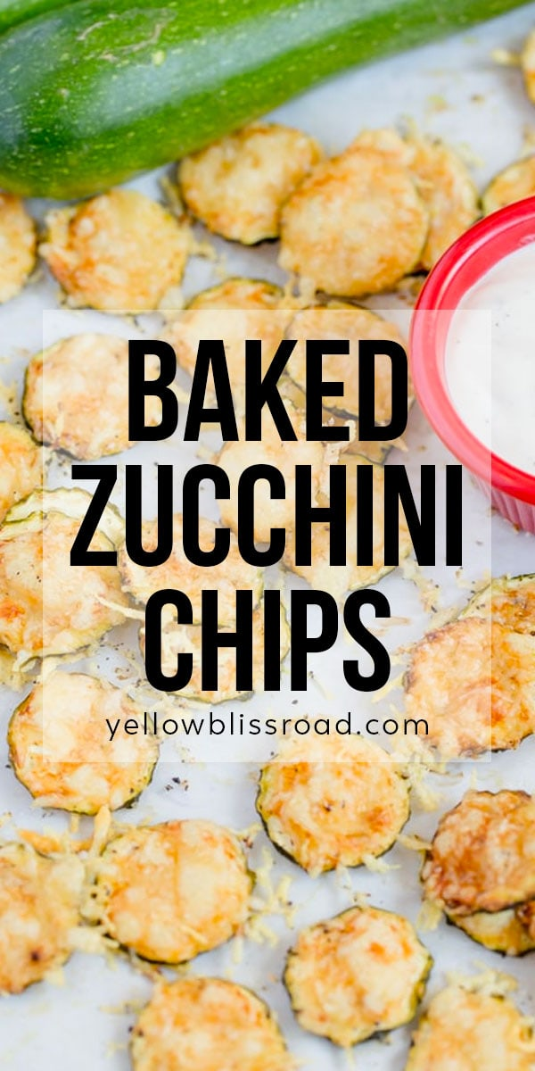 Baked zucchini chips long image with text overlay