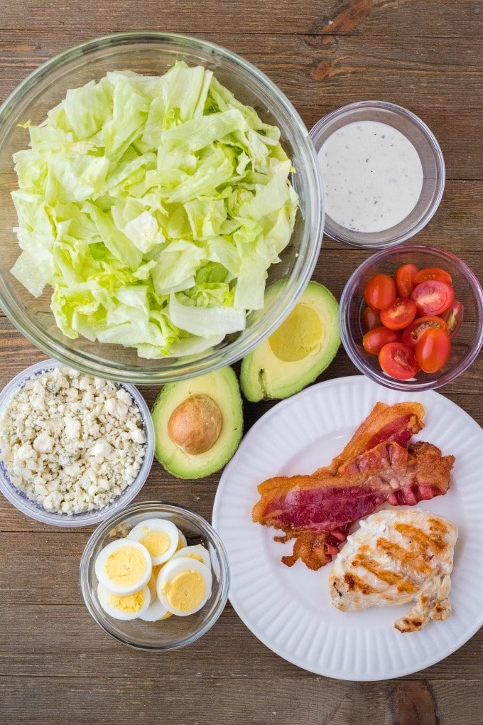 ingredients to make a classic cobb salad