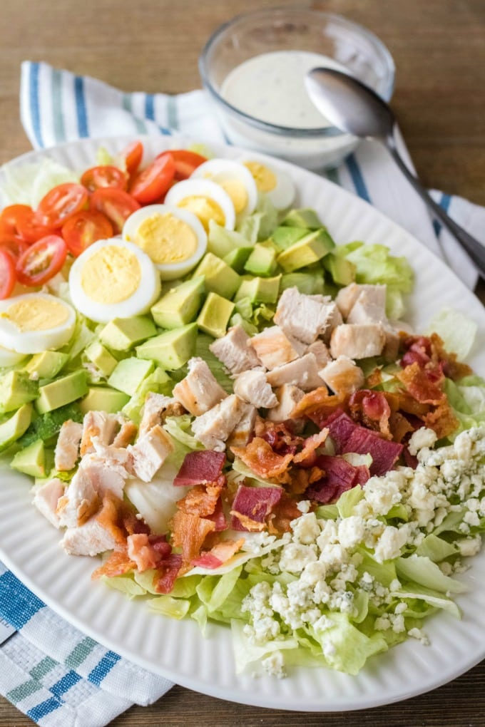 classic cobb salad with ranch dressing on the side