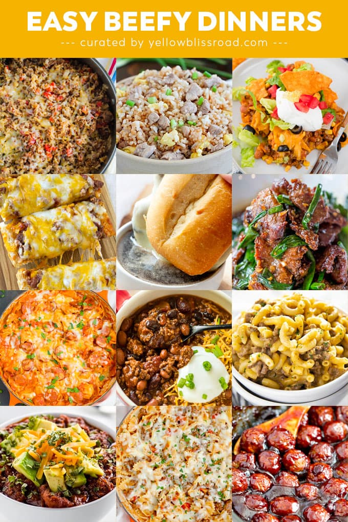 A collage of images of dinners made with beef and pork