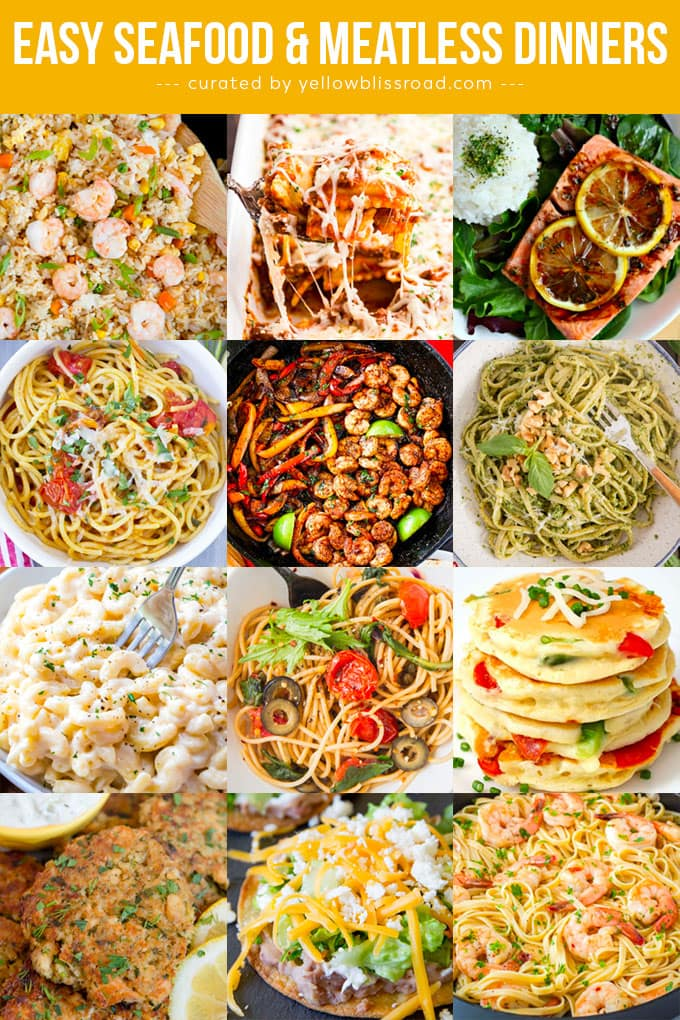 A collage of images of seafood and meatless dinners