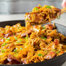Pan filled with Pasta and Sausage