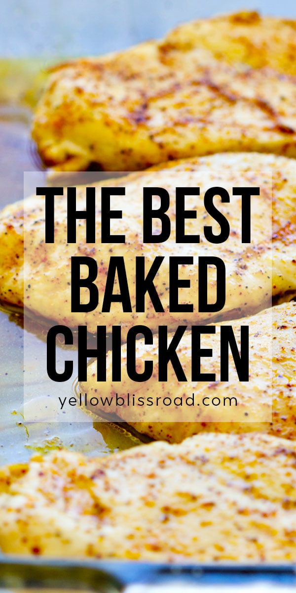 Baked Chicken Breasts long pinterest image with text