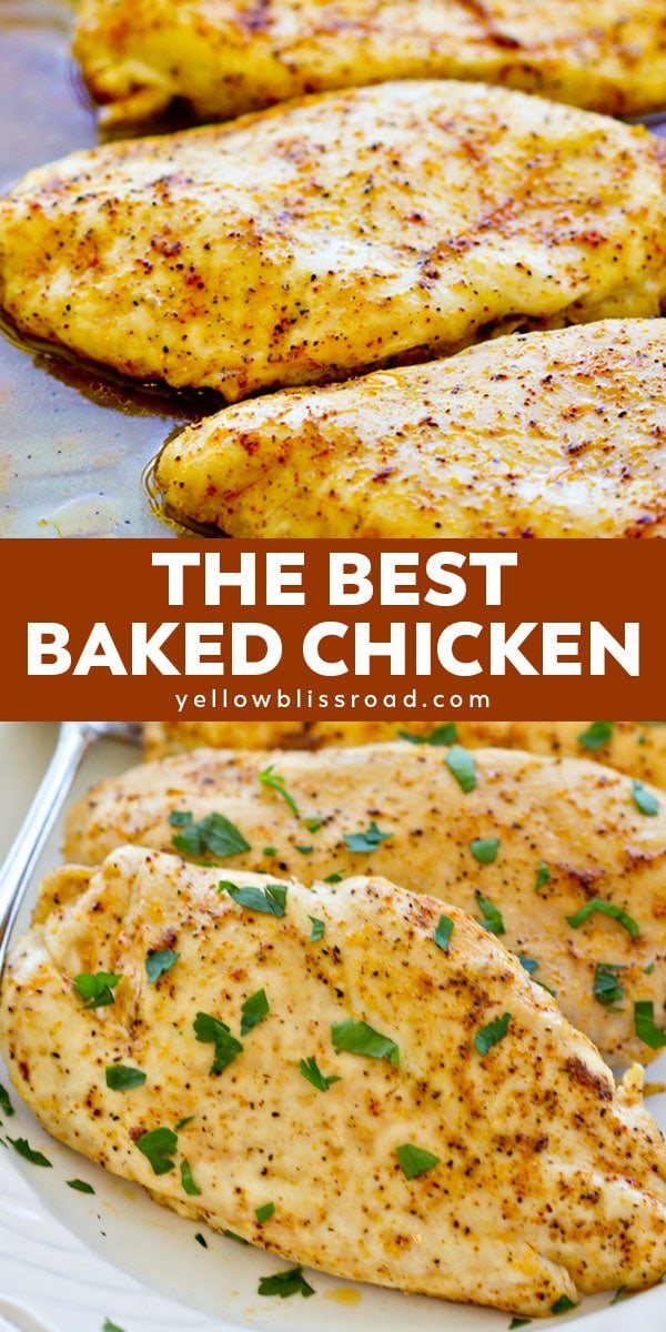 the best baked chicken pinterest collage with text