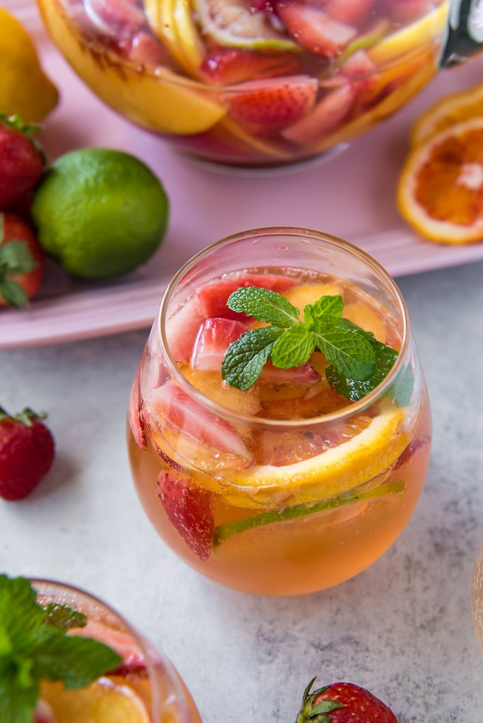 White Sangria with fruit overhead shot