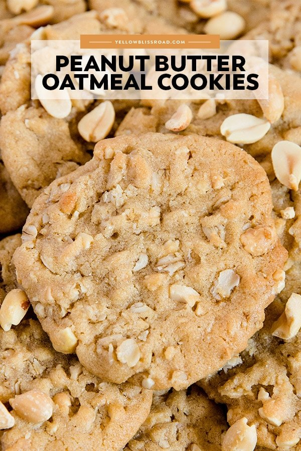 Oatmeal Peanut Butter Cookies pinnable image with text overlay