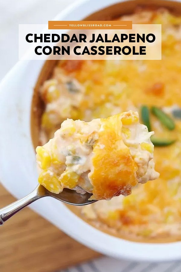 Jalapeno Cheddar Corn Casserole pinnable image with text overlay.