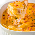 Dish of scalloped potatoes with ham