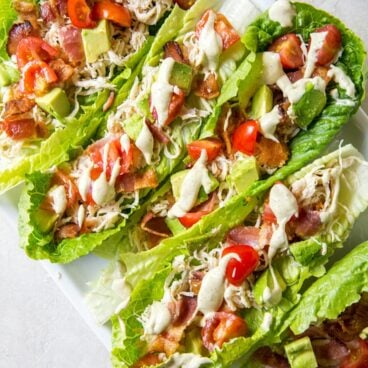 Plate of Chicken Club Lettuce Wraps