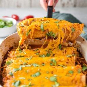 A close up of Chicken Enchiladas