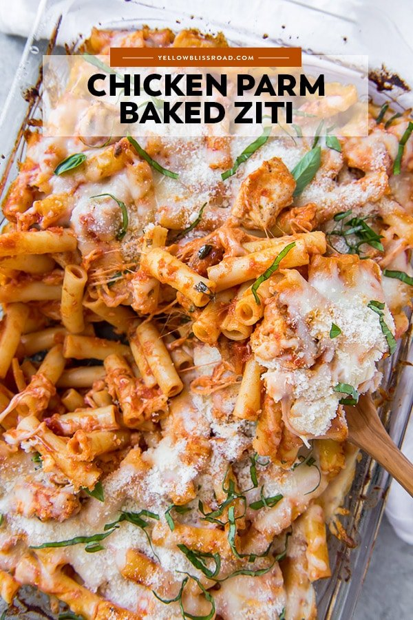 Chicken Parm Baked Ziti pinterest friendly image
