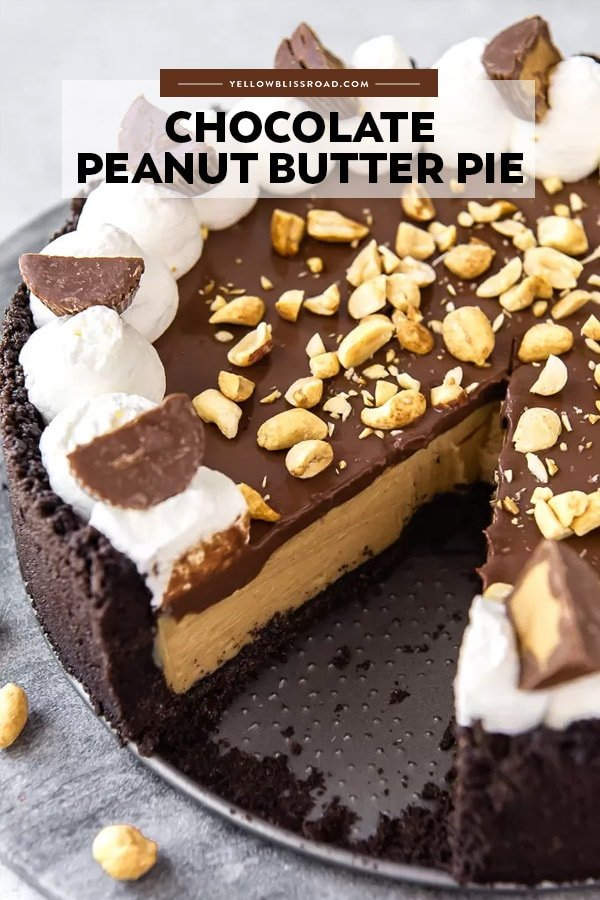Peanut butter pie with a slice taken out of it. Title text overlay