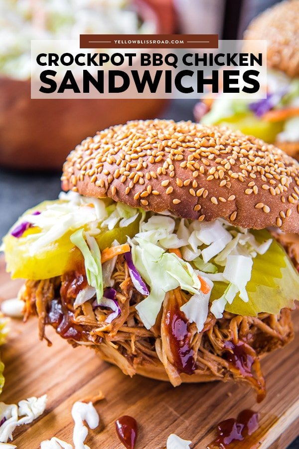 A pinterest friendly image of a bbq chicken sandwich with title text overlay.