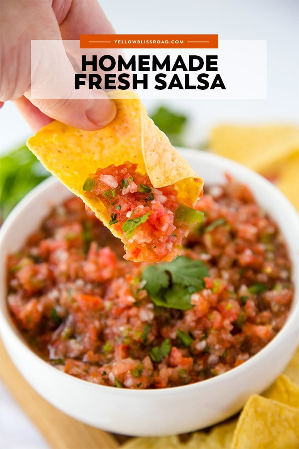 Easy Fresh Homemade Salsa recipe pinnable image with text overlay