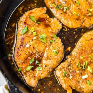Pan filled with honey garlic chicken