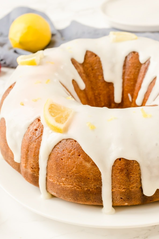An iced Lemon Bundt Cake