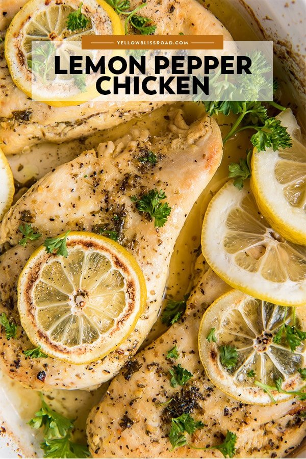 An image of baked chicken with lemon pepper that has the title of the recipe written on it.