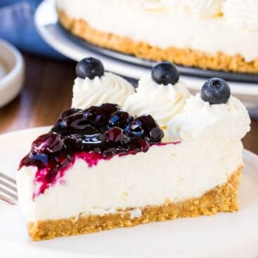 A slice of no bake blueberry cheesecake with a graham cracker crust and juicy blueberry topping.