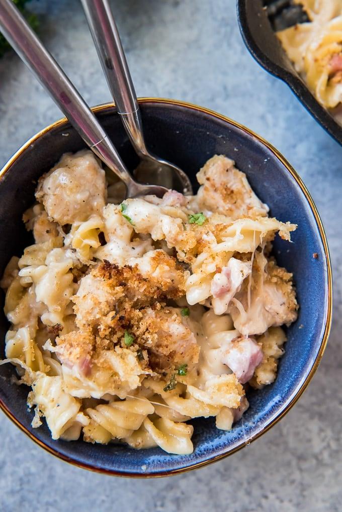A bowl of cordon bleu chicken pasta