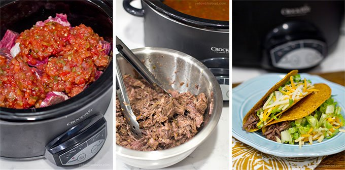 A collage of 3 images showing the steps for making slow cooker mexican beef