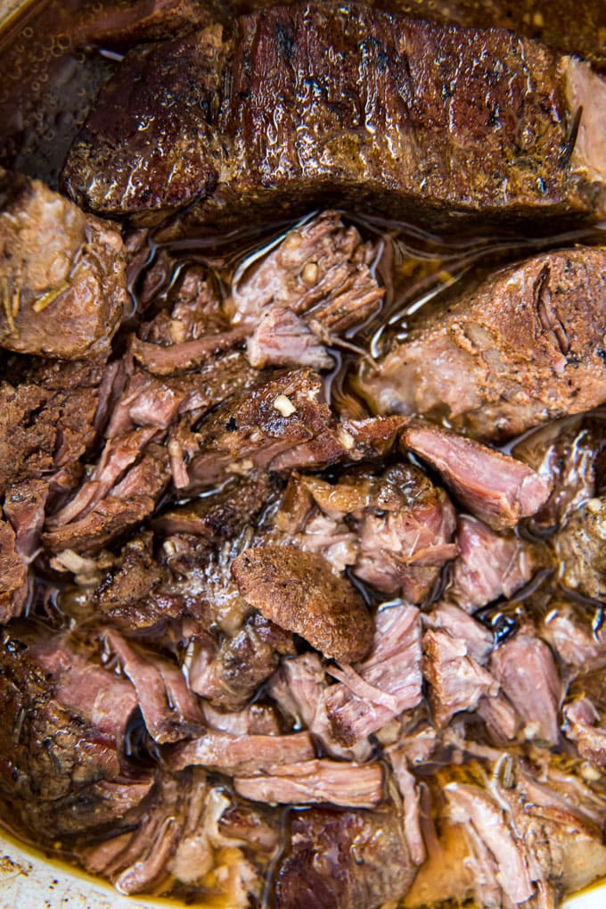 Beef short ribs in a slow cooker