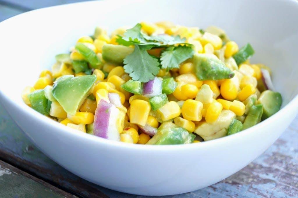A bowl of Corn and Avocado Salsa