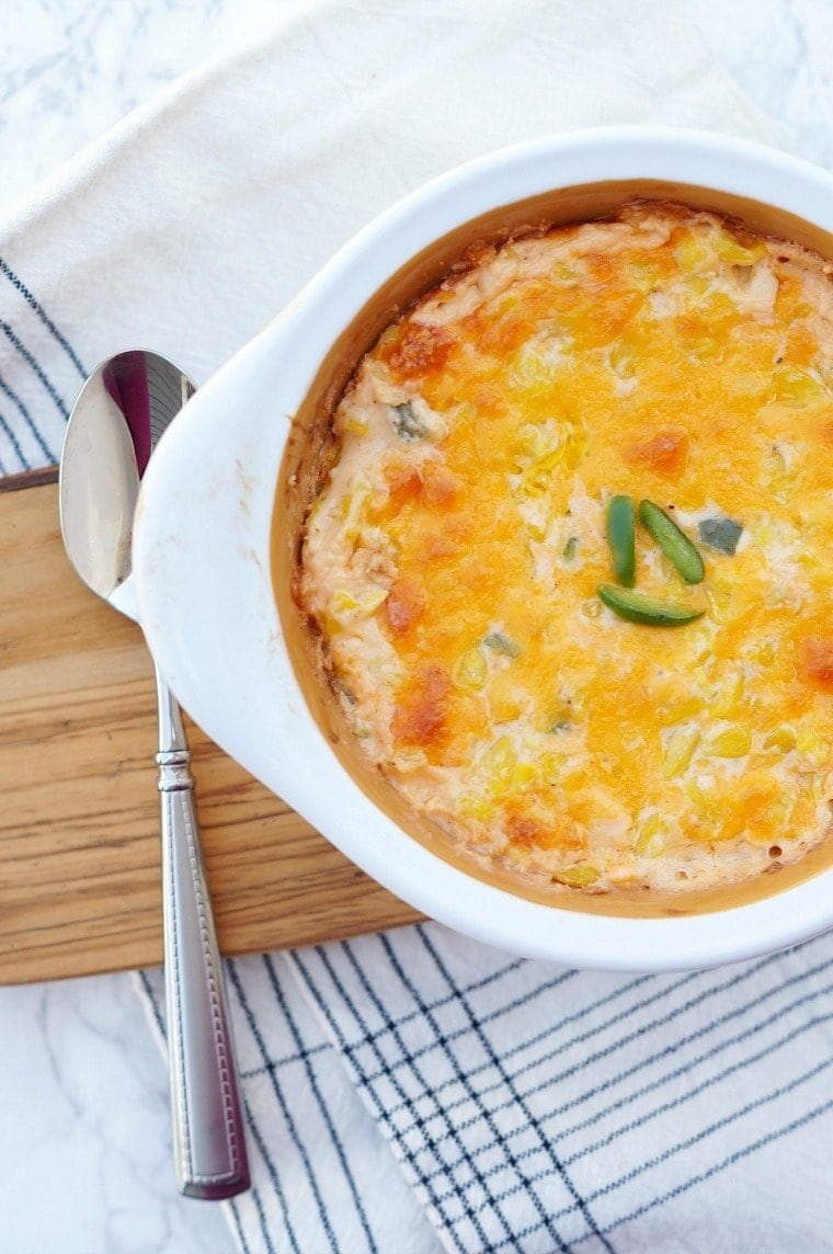 Cheddar Corn Casserole with Jalapenos