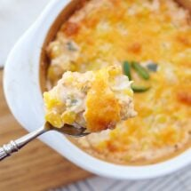 Corn Casserole with Cheddar Cheese and Jalapenos