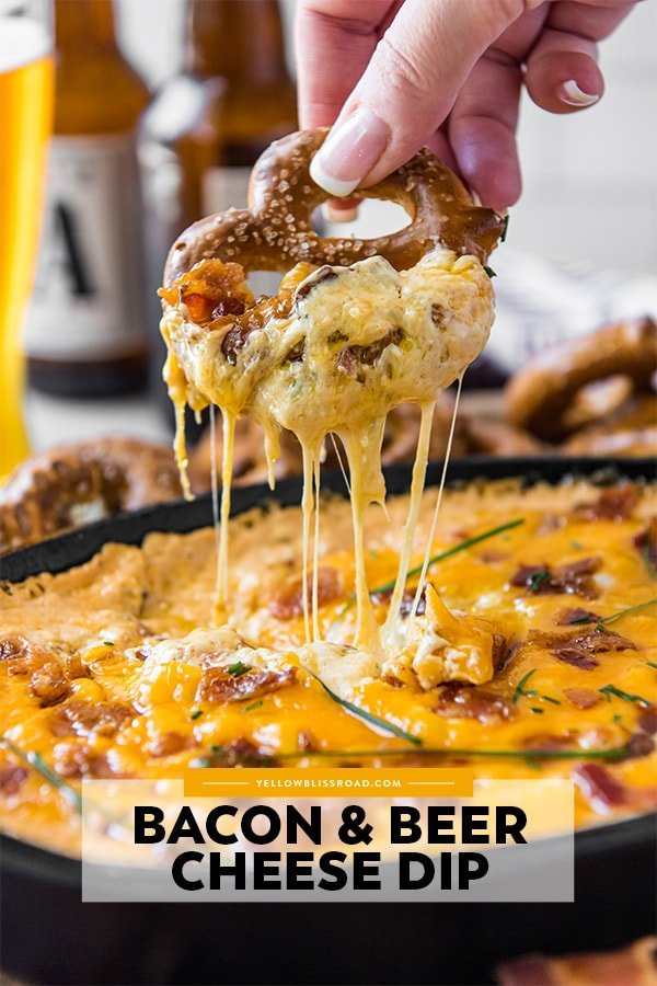A pinterest friendly image of a pretzel dripping with beer cheese dip