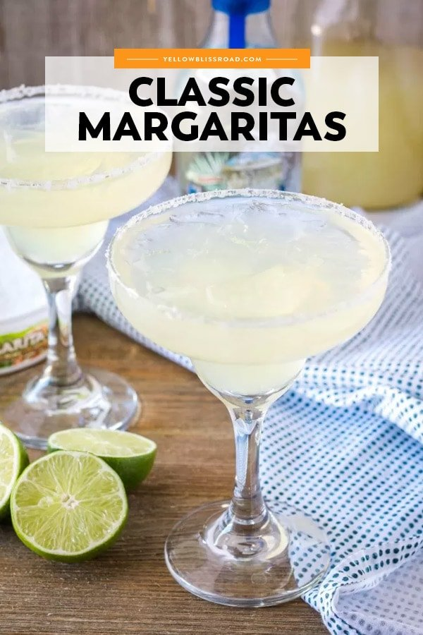 pinterest friendly image of a margarita cocktail in a tall glass.
