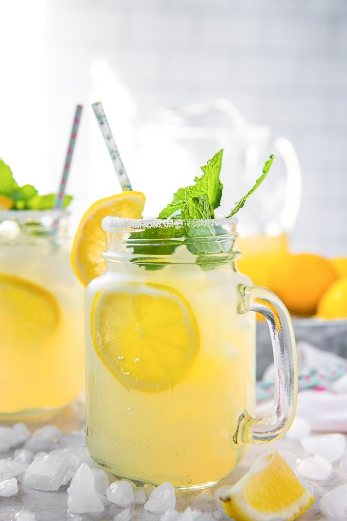 Fresh Homemade Lemonade in a glass with some mint and lemon slices