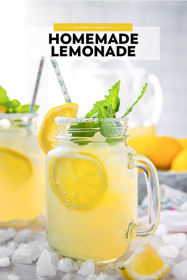 Pinterest friendly image of homemade lemonade with text overlay