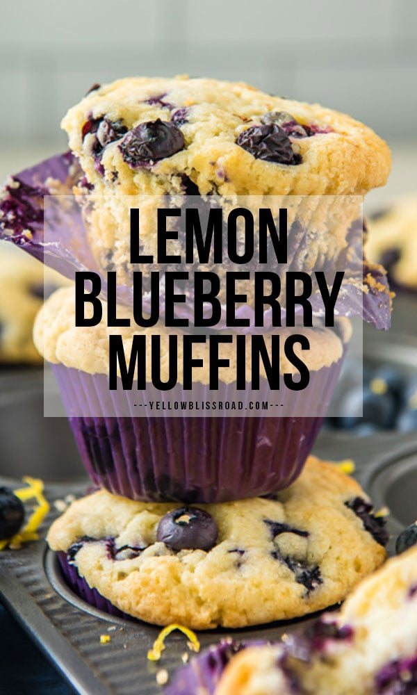 Lemon Blueberry Muffins stacked on top of each other. Pinterest friendly text overlay.